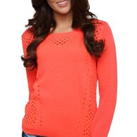 Long Sleeve Crew Neck Sweater in Neon with Pointelle Stitching