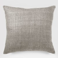 Solid Silk Hand Loomed Pillow Cover - Platinum