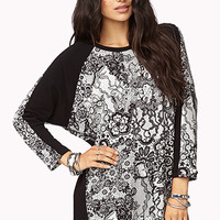 Striking Lace Print Pullover