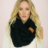 Leather Wrapped Infinity Crochet Scarf - Black Scarf Women's Fashion Accessories with Leather Band (SCF-40L)