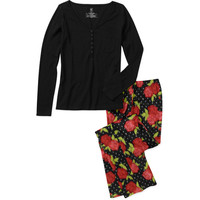 Walmart: Df by Dearfoams Women's Henley & Fleece Pants 2-Piece PJ Set