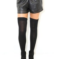 West Coast Wardrobe Leatherette Mini Shorts in Black