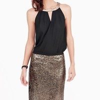 Gold Sequin Maxi Skirt with Side Slit Detail