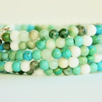 Wrap Bracelet, Aqua, Turquoise, Bohemian, Jewelry to make you smile, Treat Yourself, Memory Wire, Gift, Wrap bracelet