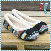Warm Wishes Fair Isle Black Fleece Sweater Knit Flats