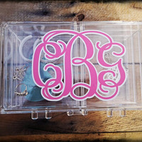 Monogram Jewelry Box Makeup organization Choice of Font