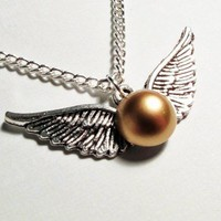 Harry Potter Keepsake Ornate Steampunk Flying in Silver Double Wings Golden Snitch Pendant Necklace