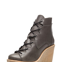 Cordovan Matte Calfskin Leather Wedge Bootie in Grey