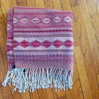 STOREWIDE SALE... Vintage wool rug // Hand Woven in Mexico // pink southwestern throw rug