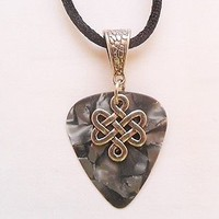 Gray Guitar pick necklace with Celtic Knot charm