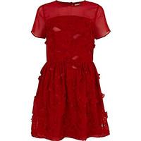 RED 3D EMBELLISHED SKATER DRESS