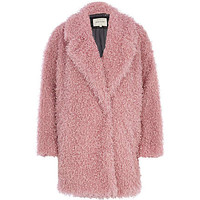 PINK FLUFFY TEXTURED OVERSIZED COAT