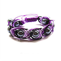 Purple Macrame Bracelet with Grey Pearls
