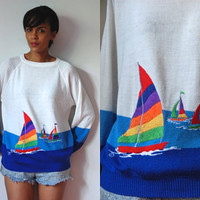 Vtg Rainbow Sailboats Retro Blue Ombre Knit Sweater