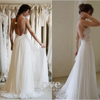 Custom Made A line Chiffon Backless Lace Wedding Dresses, White Long Lace Prom Dresses, Bridal Dresses, Wedding Party Dresses
