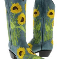 Cowboy Professional - Womens Sunflower Embroidered Genuine Leather Cowboy Boot with Snip Toe