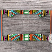 License Plate Frame - Tribal Aztec pattern car tag frame , indian personalized car frame