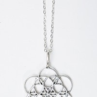 SILVER CIRCULAR MANDALA NECKLACE