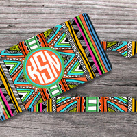 Set of TWO - Aztec License plate and License Plate Frame indie monogram pattern, personalized gifts