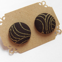 Black and Gold Button Earring Studs - Stud Earrings - Hypoallergenic Earrings