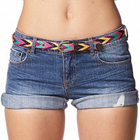 Distressed Denim Shorts w/ Woven Belt