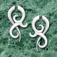 BONE Allure Twists - Fake Gauges - Tribal Style Earrings - UNISEX