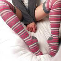 Girly Stripes Over Knee Socks