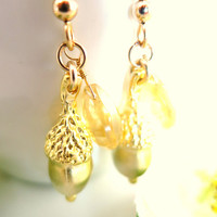 Gold acorn citrine pear briolette dangle earrings
