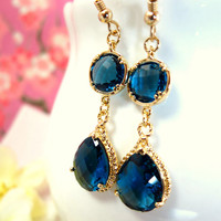 Montana blue glass chandelier gold bezel earrings, blue glass chandelier earrings