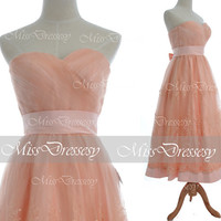 A Line Strapless Sweetheart Lace Tea Length Peach Wedding Dress, Bridal Gown, Peach Lace Bridesmaid Dresses, Prom Gown