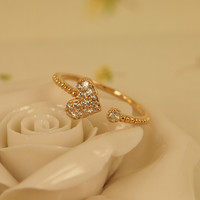 Rhinestone Heart Open Ring