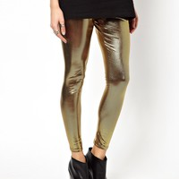 ASOS PETITE Exclusive High Waist Leggings in Gold High Shine
