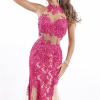 High Neck Lace Gown by Party Time