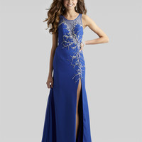 Clarisse 2014 Sapphire Blue High Neckline Long Beaded Mesh Gown 2305 | Promgirl.net