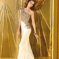 Alyce 2014 Ivory Tan One Shoulder Beaded Long Fitted Gown 6190 | Promgirl.net