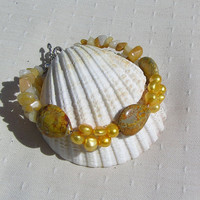 "Yellow Jasper, Pearl & Jade Crystal Gemstone Bracelet - ""Golden Days"""