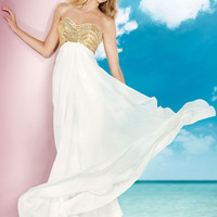 Alyce 2014 Ivory Gold Strapless Semi Sweetheart Long A-Line Prom Gown 35577 | Promgirl.net