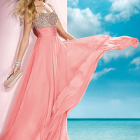 Alyce 2014 Light Coral Spaghetti Straps Sweetheart Beaded A-Line Long Prom Gown 35585 | Promgirl.net
