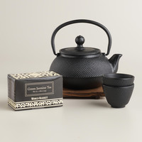 Black Cast Iron Teapot Set