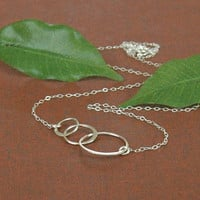 3 Ring Necklace, Silver Circle Necklace, 3 Linked Silver Circles, Sterling Silver Necklace, Fine Silver Chain Necklace