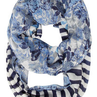 Navy stripe floral snood