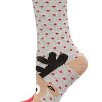 Grey reindeer toe sock