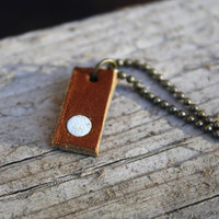Tiny leather necklace. Geometric minimalist jewelry. Brown and white.