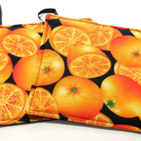 Hot Pads Trivets Pot Holders Oranges Sliced and Whole on Black