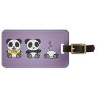 Personalized Little Pandas on Purple Luggage Tag