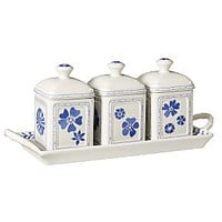 Farmhouse touch blueflowers jam pot set