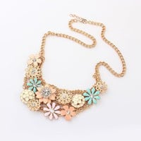 Flowers And Mesh Bohemian Bib Necklace