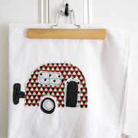 Tea Towel Appliqued Vintage Caravan Design - 100% Cotton