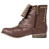 The Atlanta Pyramid Studded Boot in Light Brown