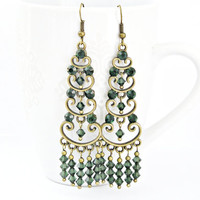 Forest dark green Swarovski rhinestone filigree earrings